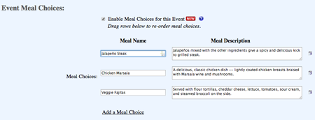 Add your meal choices and descriptions